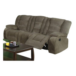 Coaster - Coaster Charlie Motion Reclining Sofa in Brown Sage Velvet - Coaster - Sofas - 600991 -Like its coordinating loveseat, this reclining sofa focuses on creating a casual atmosphere with a comfortable relaxation. Designed to be up-to-date as well as casual, this reclining sofa couch features plush padded cushions with channeled seat backs, pillow topped arms and smooth upholstered sides. High density foam adds a thick padded comfort while pocket coil seating provides just the right support. Designed with two end recliners that feature attached chaise footrests, this reclining sofa can be paired with the items from its coordinating collection to seat six with five reclining seats.