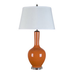 """Oriental Danny - Orange porcelain lamp - Porcelain lamp in vibrant orange glaze. The color just pop! We call this color """"Happy Orange"""" because it just is! The lamp sits on a clear acrylic base. Top with hard back linen shade. Use 100 watt, 3-way switch, UL listed"""