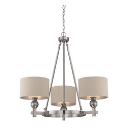 Quoizel - Quoizel CKMO5003BN Metro Chandelier - With a name like Metro, it has to be sophisticated and elegant.  A brushed nickel finish and simple details enhance the beauty of this collection.  The shades are fabric and feature a silver liner to enhance the amount of light emitted while the etched glass inner shade diffuses the light to avoid glare.