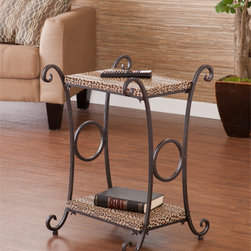 Upton Home - Castell Leopard Animal Print Accent/ Side Table - Bring a touch of exotic whimsy to your living area with this leopard-print accent table. The fluid, graceful lines of the metal frame complement the faux-leather shelves, giving this table a look that's both organic and eye-catching.