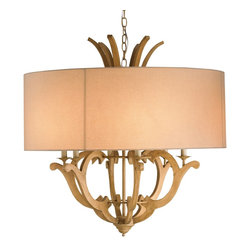 Currey and Company - Wellington Chandelier - A magnificent showpiece, the Wellington chandelier boasts a luminous Beige Linen shade which envelopes the intricate hand-cut wood designs of the chandelier itself. The Wellington chandelier isn't lacking for heft and warmth.