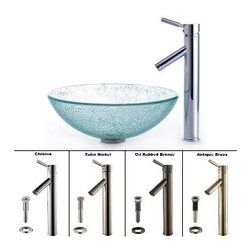 Kraus - Kraus Mosaic Glass Vessel Sink and Sheven Faucet Satin Nickel - *Add a touch of elegance to your bathroom with a glass sink combo from Kraus