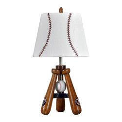 Stylecraft - Stylecraft LL1002DS Baseball Theme Lamp with Bat and Ball Stand - Stylecraft LL1002DS Baseball Theme Lamp with Bat and Ball Stand