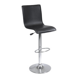 "Winsome Wood - Winsome Wood Spectrum Accent Chair X-54139 - Spectrum full back Airlift Adjustable Swivel Stool has black faux leather upholstery and chrome base and handle.  The full back supports you while the curved seat is designed for extra comfort.  The Spectrum stool adjusts from 24-30"" in height and comes  ready to assemble with tools and hardware."