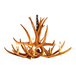 Muskoka Lifestyle Products - Rustic Mule Deer Antler Chandelier - 6 Antlers 6 Lights - Our Rustic Mule Deer 6 Antler Chandelier is the best faux antler chandelier available on the market. We have taken our replication process from our other rustic decor items and matched the authentic finish. Real antlers are used to model the reproduction for an exact and comparable result. The process to create the antler chandeliers uses a time proven, cast resin system to ensure perfection in every piece. We have hand-stained and antiqued each antler to achieve the exact comparable match to the real antler. Bring the perfect rustic decor to your home, cabin, or office with these antler chandelier reproductions. From the large majestic options to the quiet accent lights, our reproduction antler chandeliers are perfect for entry ways, pool tables, dining room tables, living rooms, offices, or anywhere you want to hang them to create the perfect, natural look in any room. All antler chandeliers are UL listed to ensure absolute safety, quality, and US building code parameters are met.