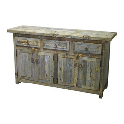 Mexican Artisans - Barnwood Buffet - Indeed Decor's Reclaimed Rustic Barn Wood Buffet is hand-crafted from aged wood with a natural patina. Our rustic wood beds, nightstands, buffets and dressers will bring warmth and character to your bedroom, living room or dining rooms. Designed and handcrafted to last, these exceptional pieces offer a relaxed-living feel balanced by the understated elegance of vintage architectural appeal. Reclaimed wood with the best character and blemishes are used in this line. Each piece of well built furniture is destined to become your most beloved family furniture treasures. Each piece is a unique creation, so expect slight variations in size, color and hardware elements. This well crafted buffet offers plenty of room storage for all of your dining essentials, with three drawers and four doors.