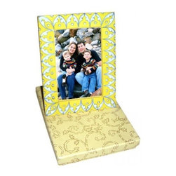 Potteryville - Ceramic Frame, Yellow with white and blue - Neerja Blue Pottery Photo Frame (Design 02)