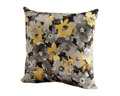 Cyan Design - Cyan Design Field Of Flowers Pillow X-51560 - Add modern flair to your home with this Cyan Design pillow. From the Field of Flowers Collection, the floral pattern has been set against a dark backdrop and done in shades of light grey and charcoal, with pops of yellow for a touch of vibrancy. This decorative pillow also features downs and feathers for a soft feel.
