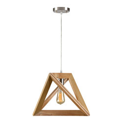 Apex Ceiling Fixture - Geometric fixture hangs nicely on a bar or kitchen island. Made from solid wood, clear cod and finished with shiny brass accents. 60 watts. Bulb not included.