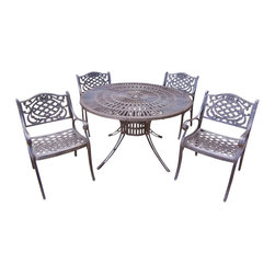 """Oakland Living - Oakland Living Sunray Mississippi 48"""" 5-Piece Dining Set in Antique Bronze - Oakland Living - Patio Dining Sets - 111821095AB - About This Product:"""