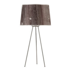Lights Up! - Weegee Medium Table Lamp, Dark Faux Bois - Add a modern table lamp to your work desk or side table for a bold pop of light. Pick your favorite color and pattern for the shade and light up your room with just the flip of a switch. It's the easiest way to infuse your space with style.