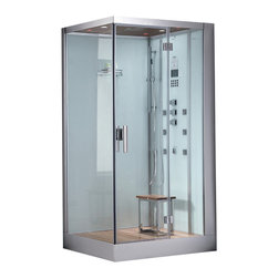 """Ariel Platinum - Ariel Platinum DZ960F8 White Steam Shower - Enjoy the pleasures of the Ariel Platinum DZ960F8W steam shower in your home. These units are fully loaded with a steam shower enclosure, a built-in steam generator, and a FM radio which are all designed to greatly increase your therapeutic experience. We are confident that you will indulge in a state of complete relaxation and tranquility with all of these features within these steam bath enclosures. Look below for the features and detailed specifications of this steam shower.  DZ960F8W    Dimensions: 39.4"""" x 35.4"""" x 89.2""""  ETL listed (US & Canada electrical safety) 220v  Steam Sauna (6KW Generator)  Cleaning Function  Acupuncture Massage  Rainfall Ceiling Shower  Handheld Showerhead  6 Body Massage Jets  Chromatherapy Lighting  Computer Control Panel With Timer  FM Radio  Stool  Wooden Floorboard  Ventilation Fan  100% Drainable Shower Tray  Available in L/R"""