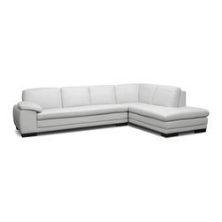 "Baxton Studio - Diana Pale Gray Leather Modern Sectional Sofa - A modern sectional with smart style, our popular Diana Designer Sofa is hard to beat and easy to love. This spacious sofa-chaise set is made in China with a wooden frame, medium-firm foam cushioning, and beautiful pale dove gray split leather with a corrected grain on all seating area surfaces. Matching faux leather finishes the backs and sides of the sectional. Dark brown wooden legs with non-marking feet as well as a connecting bracket between the sofa and chaise lounge complete the contemporary sectional. The Diana Sectional is fully assembled and should be wiped clean with the leather conditioner of your choice. This item is also offered in dark brown, light beige, and black leather (each sold separately). 119.75""W x 85.87""D x 30.87""H , seat dimension: 90""W x 70.5""D x 16.37""H, arm height: 22.37""."