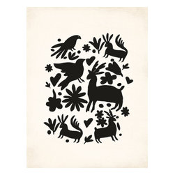 Kindred Sol Collective - Black Otomi Canvas, 36x24 - Gracefully serene and zen, nature -themed canvas tapestry.  Arrives ready to be displayed in your home as a rolled canvas on a beautiful wooden hanger.