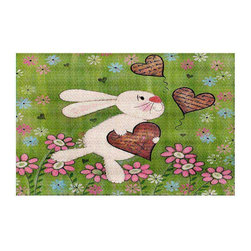 DiaNoche Designs - Some Bunny Love Area Rug - Finish off your bedroom or living space with a woven Area Rug with Chevron pattern  from DiaNoche Designs. The last true accent in your home decor that really ties the room together. Maybe its a subtle rug for your entry way, or a conversation piece in your living area, your floor art will continue to dazzle for many years. 1/4 thick. Each rug is machine loomed, washed and pre-shrunk, printed, then hemmed on the edges.   Spot treat with warm water or professionally clean. Dye Sublimation printing adheres the ink to the material for long life and durability