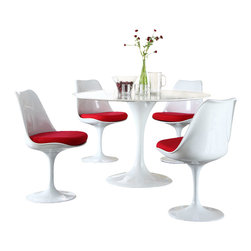 "Modway Furniture - Modway Lippa 5 Piece Dining Set in Red - 5 Piece Dining Set in Red belongs to Lippa Collection by Modway This Lippa Dining table and chair set is the perfect solution to your dining seating needs! Perfect when entertaining or for everyday relaxation. Table has a lacquered cast aluminum base. Chair has a swivel seat with a padded cushion upholstered in several fabric colors. Whites are reinforced bonded finishes that maintain their gloss through years of use. Both the base and top are treated with a clear protective finish to resist scratches, stains and scuffs. Set Includes: Four - Lippa Side Chairs One - 48"" Lippa Dining Table Dining Table (1), Side Chair (4)"