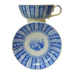 Lavish Shoestring - Consigned Blue & White Large Chocolate Cup & Saucer in Florence Stripe Pattern - This is a vintage one-of-a-kind item.