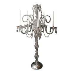 "The Gallery - Set of 10 Wedding Candelabra Centerpieces - Set of 10 - This magnificent candelabra is all 100% crystal. 100% crystal chandelier. Nothing is quite as elegant as the fine crystal chandeliers that gave sparkle to brilliant evenings at palaces and manor houses across Europe. This beautiful chandelier is decorated with 100% crystal that captures and reflects the light of the candle bulbs, each resting in a scalloped bob ache. The crystal arms of this wonderful chandelier give it a look of timeless elegance that is sure to lend a special atmosphere in any home. H. 33"" W. 24"" 5 Lights. Special Sizes Available Upon Request."