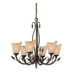 Vaxcel - 6L Chandelier w/ Excavation Glass - Vaxcel Lighting CP-CHU006BW 6 Light Capri Chandelier This item by Vaxcel Lighting comes in a black walnut finish. It is available with excavation glass.