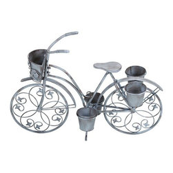 Benzara - Classic Style Bicycle Planter for Your Potted Plants - Classic Style Bicycle Planter For Your Potted Plants