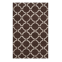Surya - Surya Zuna Hand Tufted Brown Wool Rug, 2' x 3' - Delicate, sophisticated lattice pattern rugs with colors specifically chosen to coordinate with today's home furnishings trends; the creator Jill Rosenwald is the top designer known for beautifully colored, hand-made ceramics. The Zuna pattern, hard-twist texture, and hand-carved details beautifully combine to highlight its simplicity and sophistication. Imported.Material: 100% New Zealand WoolCare Instructions: Blot Stains
