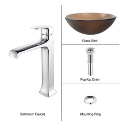 Kraus - Kraus C-GV-103FR-12mm-15200CH Frosted Brown Glass Vessel Sink and Decorum Faucet - Add a touch of elegance to your bathroom with a glass sink combo from Kraus