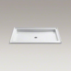"""KOHLER - KOHLER Kathryn(R) 48"""" x 36"""" single threshold center drain shower base - With its classic looks and durable cast-iron construction, the Kathryn shower base captures the unforgettable style of a bygone era. This rectangular receptor features a slip-resistant finish and low-threshold design to ensure safe, easy access. Available in a palette of KOHLER colors to complement any d�cor."""