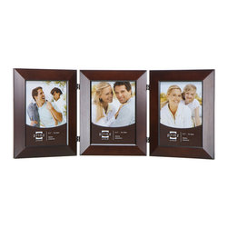 Origin Crafts - Dakota duo dark walnut 3 hinged frame (4x6) - Dakota Duo Dark Walnut 3 Hinged Frame (4x6) Natural Pine wood,,velvet back, wall hangers. Dimensions (in): By Prinz - Prinz is a leading supplier of picture frames. At Prinz they are committed to offering unsurpassed design, quality, and value. Ships within five business days.