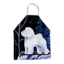 Caroline's Treasures - Starry Night Bichon Frise Apron - Apron, Bib Style, 27 in H x 31 in W; 100 percent  Ultra Spun Poly, White, braided nylon tie straps, sewn cloth neckband. These bib style aprons are not just for cooking - they are also great for cleaning, gardening, art projects, and other activities, too!