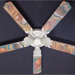 Ceiling Fan Designers Classic Sports Indoor Ceiling Fan - Any sports fan would love this Ceiling Fan Designers Classic Sports Indoor Ceiling Fan. A fun way to light up and cool down his room, this ceiling fan includes a light kit and comes in your choice of size: 42-inch with 4 blades or 52-inch with 5. Though he may never want to change it, the blades are reversible so you get the sport theme design on one side and basic white on the other. It has a powerful yet quiet 120-volt, 3-speed motor with easy switch for year-round comfort. The 42-inch fan includes a schoolhouse-style white glass shade and requires one 60-watt candelabra bulb (not included). The 52-inch fan has three alabaster glass shades and requires three 60-watt candelabra bulbs (included). Your ceiling fan includes a 15- to 30-year manufacturer's warranty (based on size). It is not an officially licensed product. Licensed products were used as decorations. Also perfect in the family room or man cave!
