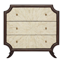 Kathy Kuo Home - Radiant Burst Hollywood Regency Cream Bone Inlay Brown Nightstand - There are pieces of great design and then there are pieces of art.  This three drawer nightstand is inlaid with a burst formation of natural bone framed by espresso stained wood.  Deco, Asian, and Hollywood Regency fans will all find this an exceptional, covetable piece.