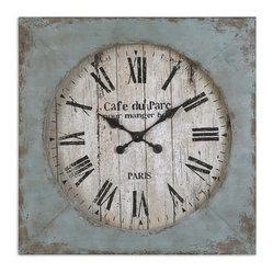 Uttermost - Paron Square Wall Clock - Looking like it came directly from a French farmhouse, this heavily distressed, blue wall clock will always keep you on time. It's perfect for your country kitchen where it can remind you of life in another time with its delicate black hands and antiqued clock face.