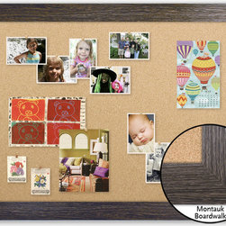 "Corkboard - 44"" x 32"" Framed Cork Board, Montauk Boardwalk - Dimensions include frame."