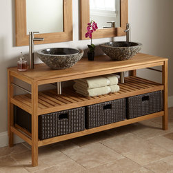 Classical wooden bathroom vanity cabinet -