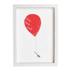 """Art for Kitchen, Red Balloon, Live Love Eat by Anek - This simple, sweet print for the kitchen says, """"live, love, eat."""""""