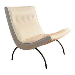 "Used Mid-Century Milo Baughman Scoop Chair for T Coggin - A classic ""Scoop"" lounge chair designed by Milo Baughman for Thayer Coggin circa 1955. This Mid-Century collector's piece is in pristine condition (with new white vinyl) and is very comfortable."