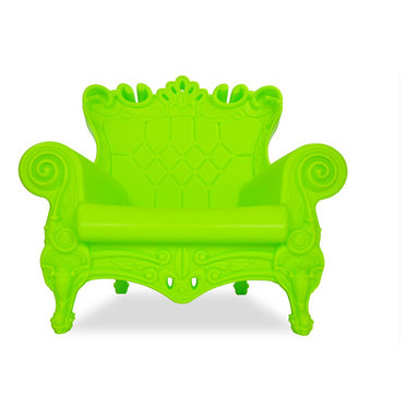 """Design of Love - Queen of Love Armchair, Pure Green - An ironic revisiting of the Louis XV style, the """"Queen of Love"""" Armchair is not only a luxurious choice for seating but an irresistible statement piece for any decor. This surprisingly comfortable armchair owes its whimsical appearance to its baroque style, bright, modern color options, the exaggerated contours and intricate details that encompass each armchair. Made in a rotational mold, the armchair is a seamless, durable piece of furniture made entirely of recyclable linear polyethylene. The """"Queen of Love"""" Armchair is a versatile piece that will survive equally well indoors and outdoors."""