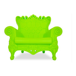 Design of Love - Queen of Love - Pure Green - An ironic revisiting of the Louis XV style, the QUEEN OF LOVE Armchair is not only a luxurious choice for seating but an irresistible statement piece for any decor. This surprisingly comfortable armchair owes its whimsical appearance to its baroque style, bright, modern color options, the exaggerated contours and intricate details that encompass each armchair. Made in a rotational mold, the armchair is a seamless, durable piece of furniture made entirely of recyclable linear polyethylene. The QUEEN OF LOVE Armchair is a versatile piece that will survive equally well indoors and outdoors.