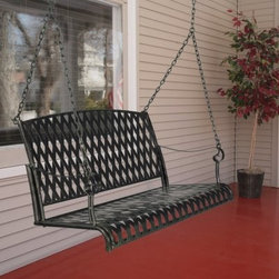 International Caravan Wrought Iron Diamond Lattice Porch Swing Set - Even better than before!We think all our porch swings are pretty fantastic but we also know each one could be even better with a little help. That's why we give you the option to add on our comfort springs and hanging hooks. You'll love the security you get with these swing hangers. Each one is covered in high-impact ABS plastic to prevent rusting. The metal comfort springs are pretty much the best porch swing accessory ever. Each one has a 600-lb. weight capacity and they're super shock absorbers. They give your swing a little extra bounce. Spruce up your front porch or backyard with the International Caravan Wrought Iron Diamond Lattice Porch Swing. This swing features a timeless design of wrought iron straps arranged in a diamond lattice pattern. A dark marble green finish adds an apt finishing touch to match any outdoor setting. With its durable construction and special weather-resistant finish this porch swing will provide soothing comfort and enjoyment for years to come. The International Caravan Diamond Lattice Porch Swing goes through an extensive finishing process to ensure that you receive a product that will retain its beauty for years. The base coat of this porch swing is applied via electrophoresis. It is dipped in a tank of special electrophoretic paint solution and an electric current is run through it causing the charged paint particles to attract to the iron. The swing is removed and hung to dry. It is then baked in an oven at high temperatures. Finally it is powder coated and baked a second time. The end result is an extremely durable and weather-resistant finish that will look like new season after season.