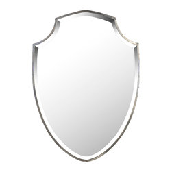 Kathy Kuo Home - Haverford Shield Masculine Rust Frame Wall Mirror - Feel like a hero every day with your image reflected in a shield-shaped mirror. Heraldic and inspiring, the rust-framed wall mirror is the perfect piece for an eclectic, whimsical bathroom or a budding superhero's bedroom. Elegant and interesting, this mirror could also be used as artwork.