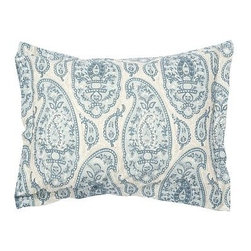 Ashlyn Paisley Organic Cotton Sham, Standard, Blue - Our bedding's densely patterned paisleys resemble Indian Kalamkari textiles, created through an intricate process of dyeing, block printing, and freehand brushwork. Woven of 100% organic cotton. 200-thread count. Oeko-Tex certified. Duvet cover and sham reverse to the same design. Duvet cover has a button closure; sham has an envelope closure. Duvet cover, sham and insert sold separately. Machine wash. Imported.