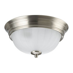 Seagull - Seagull Floyd Flush Mount Ceiling Fixture in Brushed Nickel - Shown in picture: CLOSEOUT SPECIAL - 79506BLE-962 Three-Light Fluorescent Ceiling in Brushed Nickel finish with Satin White'Glass; ENERGYSTAR Compliant; ENERGYSTAR Compliant
