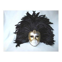 Si Lucia - Si Lucia Full White Deco Face Black Feathers Mask - Si Lucia Full White Deco Face Black Feathers Mask  -  Size: 14L x 21W x 5H  inches  -  Created By Premiere Venetian Mask Maker Franco  -  Made using the exact process used in Venice since 1436  -  Quality and design are unsurpassed  -   Only the finest materials are used  -  Made by hand in Italy each mask comes With  a Si Lucia hangtag  -  Can Be Worn  -  Perfect For Home Decor