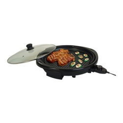 Elite Gourmet EMG-980B 14 in. Electric Indoor Grill - Black - Enjoy grilling all year long with the Elite Gourmet EMG-980B 14 in. Electric Indoor Grill - Black. Featuring a 14-inch non-stick grilling surface and five adjustable temperature control settings, you'll be making your favorite outdoor dishes from the warmth of your own kitchen. Its cool-touch safety handle and base helps to prevent burns while the vented tempered glass lid helps to keep your food moist. Its detachable power cord and removable, dishwasher safe drip tray help to make clean-up quick and simple. About Maxi-MaticMaxi-Matic U.S.A has been an established provider of small kitchen appliances and other various household items for more than 25 years. From exclusively marketing the Pillsbury line to developing its own range of brands, Maxi-Matic features products that are carried by all major U.S. retailers today. Committed to offering the best quality and pricing in today's market, Maxi-Matic strives to provide the best consumer products under world-class brands such as Elite (Cuisine) by Maxi-Matic, Elite (Gourmet) by Maxi-Matic, Elite (Platinum) by Maxi-Matic, Elite Home by Maxi-Matic, Maxi-Sonic, and Mr. Freeze.