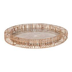 "Lazy Susan - Lazy Susan Split Rattan Spoke Tray Large - Adorn a space with the rustic yet modern Split Rattan Spoke tray from Lazy Susan. Bringing a bit of the outdoors to a console or coffee table, the large tray's glass bottom makes it the perfect vessel for displaying treasured collectibles. 26"" Diameter x 2.5""H; Natural rattan"