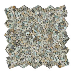 "Glass Tile Oasis - Cayman Blue Pebbles & Stones Blue Kitchen Tumbled Natural Stone - Sheet size:  12"" x 12""        Tile Size:  .50"" - 1""        Tile thickness:  1/4""        Sheet Mount:  Mesh Backed        Stone tiles have natural variations therefore color may vary between sheets.    Sold by the sheet    -  Micro Pebbles are the newest introduction to our wide assortment of decorative pebble mosaics. Small  flatter individual pebbles create a comfortable surface underfoot-perfect as a field tile or an organic accent. With a mesh mounted backing and interlocking edges  these mosaics are easy to install and suitable for a variety of indoor and outdoor applications."
