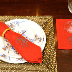 Leontine Paprika Linens with Charcoal Thread - For the ultimate in luxury, invest in a set of Leontine linen napkins embroidered with an Asian-inspired monogram. These are true works of art and are of heirloom quality.