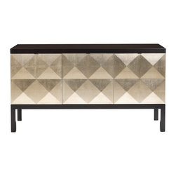 """Belle Meade - Belle Meade Kipling Sideboard - The Belle Meade Signature Miller sideboard excites with a glamorous silver leaf design. Behind the espresso cabinet's raised, diamond-patterned doors, shelves and drawers offer practical storage. 65.875""""W x 20""""D x 36""""H; Espresso luxe finish; Silver leaf cabinet doors; Stainless steel hardware; Three concealed storage drawers in center cabinet; Two adjustable shelves in each end cabinet"""