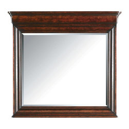 Stanley Furniture - Louis Philippe-Landscape Mirror - With design and finishes this beautiful, our Landscape Mirror needs little additional adornment. The mirror is framed with corner step molding for a look that centers on depth and dimension. Aging details such as worm hole and chiseling, add a sense of history. Completing the look is a pediment along the top of the Landscape Mirror that elevates the eye and creates a subtle sense of drama and import.