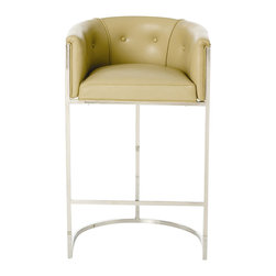 Arteriors - Calvin Barstool, Taupe - This stool has terrific style! It has a low curved back and top-grain upholstery to cradle you in comfort and a streamlined, stainless steel frame with a polished nickel or antique brass finish.